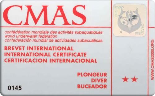 Подводник CMAS с двумя звездами